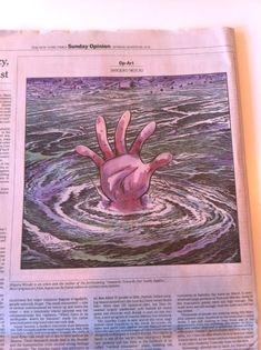 otsune:PRESSPOP JOURNAL: The New York Timesの日曜日版  The New York Times紙のアート・ダイレクターから連絡があり、水木しげる氏に『今回の日本を襲った地震と津波による大災害についての水木さんの個人的な考察』を絵で描いてもらえないでしょうか?と言うオファーがきました。 そして、2日後の金曜日夕方、絶対に水木さんしか描けないガチンコの作品がupしました。