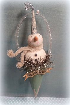 SNOW CONES Vintage Inspired Snowman Cottage Style Folk Art Christmas Ornament