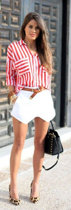 Red And White Perpendicular Stripe Button Up Shirt @✔ b l a c k w h i t e / fashion / street .