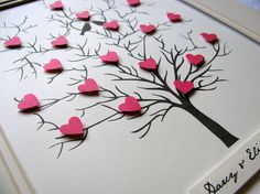 11x14 Tree of 3D Mini Hearts. Anniversary. Wedding. Special