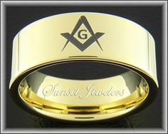 Freemason 18kt Gold Plated Tungsten Ring with Masonic Square & Compass Emblem. Free Inside Engraving Available!
