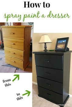 Spray painting the dresser – an easy tutorial for giving a dresser a makeover!   Green With Decor
