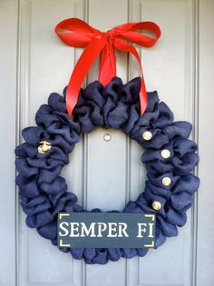 Marine Corps Burlap Wreath by WoulfsCreations on Etsy, $50.00