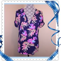 """Daniel Rainn Floral Petal Sleeve Blouse M/L Like New, Adorning blouse with bright hues of pink and purple over a navy background. No signs of wear! Laid flat measures 20"""" across chest and 26"""" in length. Labeled medium but can easily fit a large as well. Good length, perfect for tights or skinnies!  Thx for looking!!! Daniel Rainn Tops Blouses"""