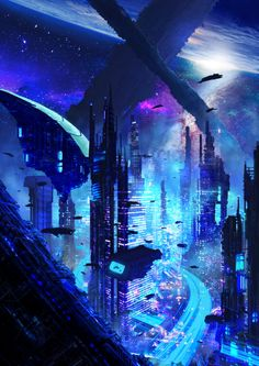 Cyberpunk city panorama at night, cyberpunk city landscape fantasy art inspiration Busy Evening by Duncan Halleck futuristic sci fi city environment design illustration, science fiction space colony near a planet Cyberpunk City, Ville Cyberpunk, Cyberpunk Kunst, Cyberpunk Aesthetic, Futuristic City, Futuristic Architecture, Cyberpunk Tattoo, Cyberpunk 2077, Cyberpunk Fashion