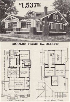 Sears Craftsman-style House - Modern Home - The Corona - 1916 Bungalow Home Plan- a sleeping porch! when can we build? Love this house Bungalow Homes, Craftsman Style Homes, Craftsman Bungalows, Modern Bungalow, Craftsman Bungalow House Plans, Craftsman Style Interiors, Ranch Homes, The Plan, How To Plan