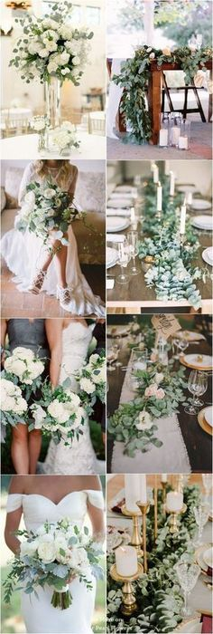 Eucalyptus green wedding color ideas / http://www.deerpearlflowers.com/greenery-eucalyptus-wedding-decor-ideas/ #weddingtips