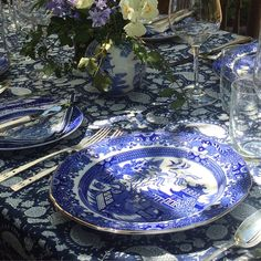Botticelli House table styling with antique blue and white china plates