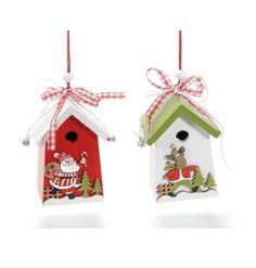 Casetta natalizia da appendere in legno, Scatole Discount.it - Trasparenti, in cartone, portabottiglie, portaconfetti, nastri, bomboniere e ragali