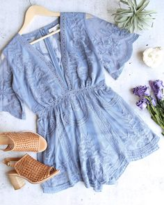 as you wish embroidered lace romper (women) - more colors – shophearts Looks Style, My Style, Cute Dresses, Cute Outfits, Vetement Fashion, Look Boho, Lace Romper, Lace Jumpsuit, White Romper