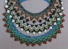 Shirley and Donna from Bead It! made these beautiful peyote collars from the June 2014 Bead  Button.