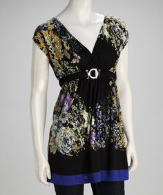 Take a look at this Black Floral Angel-Sleeve Tunic by Papillon Imports on #zulily today!