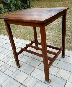 Kitchen island stand quartersawn Oak arts & crafts/Mission casters antique  | Antiques, Periods & Styles, Arts & Crafts Movement | eBay!