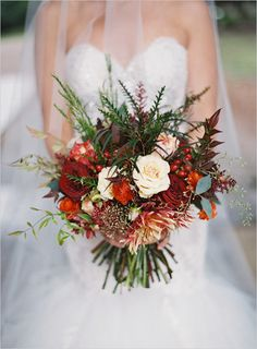 Autumn bouquet in reds and burnt oranges