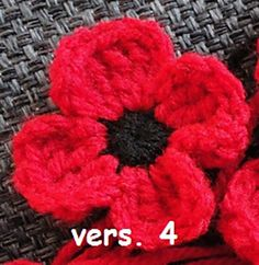 remembrance day poppy -- Free pattern, five different types of poppies to crochet