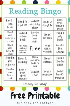 The Cozy Red Cottage: Reading Bingo (Free Printable) Reading Bingo, Reading Charts, Reading Logs, Kids Reading, Teaching Reading, Reading Lessons, Reading Workshop, Guided Reading, Homework Bingo