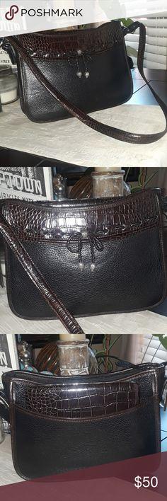 3933f4906453 Brighton Leather Shoulder Bag one inside zipper pocket one outside pocket  Inside stripped lining good shape