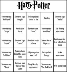 Add an extra level of fun the next time you watch one of the Star Wars original trilogy movies with this bingo game! Just keep your eyes and ears open for certain things to happen during the movie, and mark them off on your card when they do. Harry Potter Watch, Harry Potter Day, Harry Potter Marathon, Harry Potter Games, Harry Potter Halloween, Harry Potter Birthday, Harry Potter Drinks, All Harry Potter Spells, Harry Potter Activities