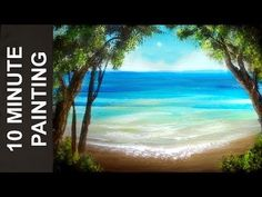 Painting a Summer Beach Landscape with Acrylics in 10 Minutes! - YouTube