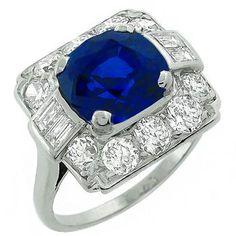 Estate  4.25ct  Ceylon Sapphire 1.50ct  Diamond Ring