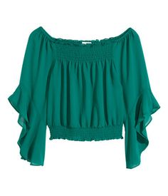 Green. Short, off-the-shoulder blouse in chiffon crêpe with smocking at the top, 3/4-length trumpet sleeves and a smocked hem.