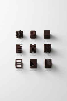 This chocolate Food Design concept, focusing on texture, is simply divine! Check out the article: http://whatiwouldbuy.com/CHOCOLATE+TEXTURE+DESIGN+BY+NENDO. - 'Chocolatexture' by NENDO for Maison et Objet 2015 -