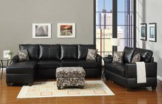 Black Bonded leather Living Room Couch Set