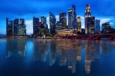 Singapore CBD during blueeeeeeeee hour