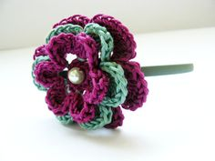 Purple, green headband, crochet flower, hair accessory, women, girls - NO pattern - color inspiration