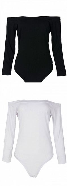 Black and white Off The Shoulder Bodysuit