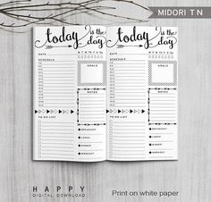 Printable Daily Planner Bullet Journal, Midori Daily Planner, Printable Midori Traveler's Notebook Daily planner inserts, PDF file
