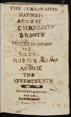Brontë juvenilia: 'The Search after Happiness' - The British Library