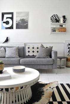 Layered rugs and layered patterns in black, white, and brown; number print; table