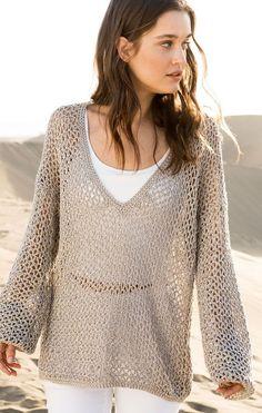 Anleitung Pullover stricken mit weitem Ausschnitt und locker gestricktem Muster / comfy and casual pullover, knitting pattern via lanagrossa.de