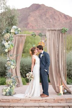 Succulents and cream drapes for the ceremony! El Chorro Wedding | Amy and Jordan Photography