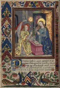 """Livre d'heures de la Famille Des Fours ; """"L'annonciation""""(1500-1550). Bibliothèque-médiathèque de Nancy, Ms. 1874"""