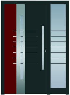 Modell Alkes 1 Aluminium-Eingangstüre in grau/rot mit Seitenteil…