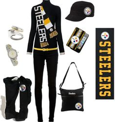 """Pittsburgh Steelers"" by borntosparkle on Polyvore a little much but LOVE the hat and watch and rings!!!!!"