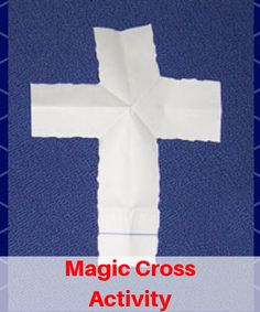 magic trick to bring kids into Lent. Talk about Lent as you do the folds.The part torn off is the bad things we get rid of during Lent.What is left is our ticket into Heaven- as we open our folded paper and find it has turned into a cross. Sunday School Kids, Sunday School Activities, Church Activities, Craft Activities For Kids, Bible Object Lessons, Bible Lessons For Kids, Bible For Kids, Children Church Lessons, Primary Lessons