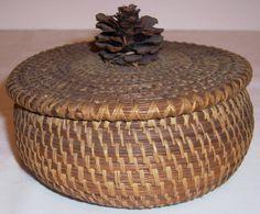 Native American pine needle basket,lid,pinecone finial