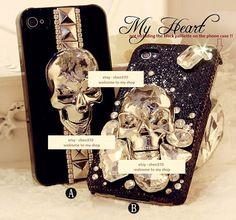 3D Bling Bling Rock SKULL and CrossBones Style DIY Phone Case Deco Den Kit & Free Phone Case