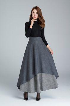 jupe grise foncé jupe longue jupe dhiver au chaud jupe
