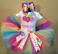 Girls Birthday Balloons Rainbow Ribbons Tutu Outfit