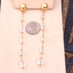 "Anne Klein Dangle Clips Brushed gold dangle earrings by Anne Klein. Perfect condition. 4"" drop. Anne Klein Jewelry Earrings"