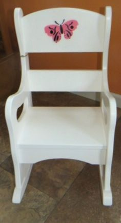 White ROCKING CHAIR Butterfly Bumble Bee Flower by savingshepherd