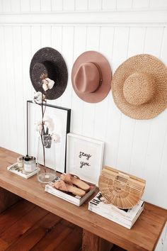 Jasmine Dowling Home table layout hat accessory and photo brand styling