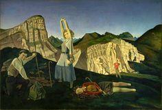 The Mountain, Oil on canvas by Balthus. Museums: The Metropolitan Museum of Art; Metropolitan Museum, Monet, George Grosz, John Piper, Magic Realism, Edward Hopper, Excursion, Mountain Art, Mountain Landscape