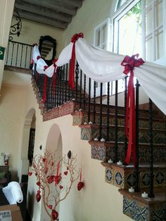 Treated the staircase with some chiffon and red bows for a post Valentines weddi… - Herzlich willkommen Wedding Staircase Decoration, Wedding Tent Decorations, Prom Decor, Engagement Decorations, Decoration Table, Valentine Decorations, Chinese Wedding Decor, Dollar Tree Wedding, Stairway Decorating