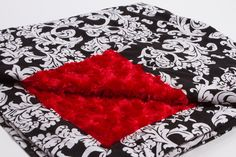 Black and White Damask with Red Rose Minky by SewAwesomeShop, $30.00