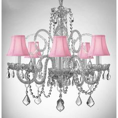 Empress Crystal (Tm) Chandelier Lighting With Pink Color Crystal And Pink Shades Swag Plug In-Chandelier W/ Feet Of Hanging Chain And Wire - Shades Plug In Chandelier, Rectangle Chandelier, Wagon Wheel Chandelier, Chandelier Shades, Chandelier Lighting, Crystal Chandeliers, Crystal Candelabra, Pendant Lights, Hanging Lamps